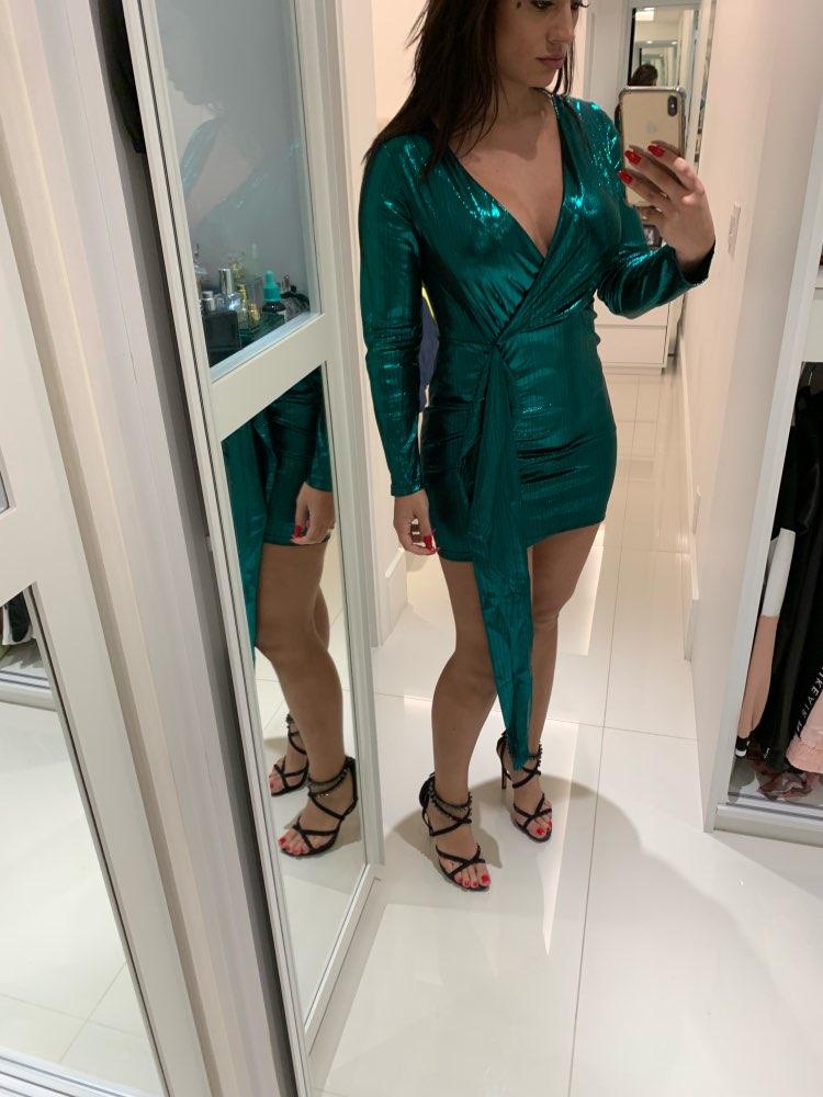 Spring Wrap Bandage Bodycon Dresses Women Deep V Neck Mini Sexy Dress Colorful Elegant Green Summer Party Dress Vestidos photo review