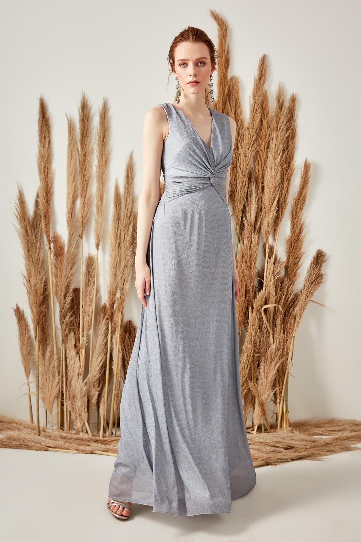 Trendyol Drape Detail Luminous Evening Dress TPRSS19VF0001