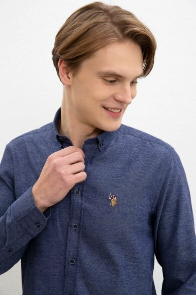 U.S. POLO ASSN. Navy Blue Dobby Slim Shirt
