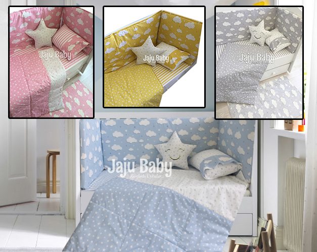 Jaju Baby 4 Color Cloud Baby Duvet Cover Set and Crib Edge Protection