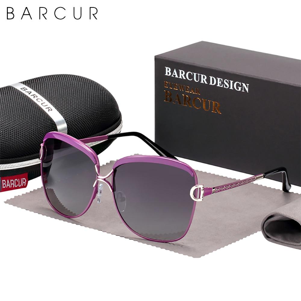 BARCUR luxe polarisé dames lunettes De Soleil femmes dégradé lentille ronde lunettes De Soleil marque carrée Oculos Lunette De Soleil Femme