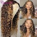 Парик Cynosure #4/ 27 из натуральных человеческих волос с кружевом спереди для черных женщин T средняя часть бразильский кудрявый парик Remy
