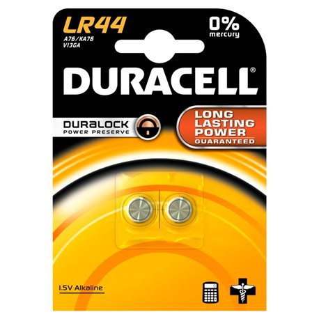 BUTTON BATTERY LR44 DURACELL 2 PZ