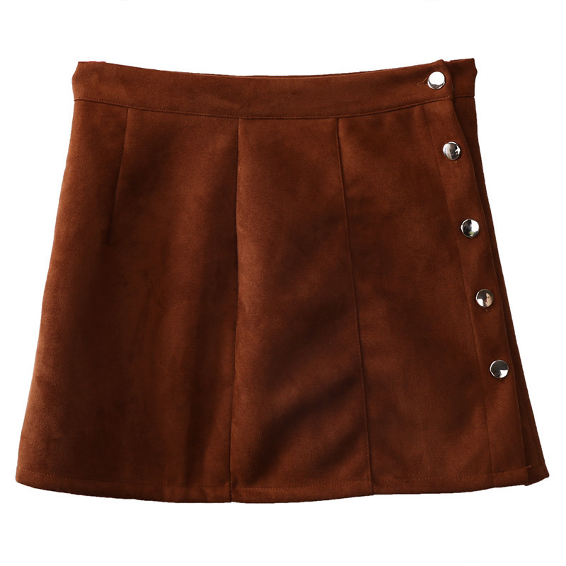 New fashion Women Ladies High Waist Pencil Skirts button lace patchwork sexy Bodycon Suede Leather split party casual Mini Skirt 43