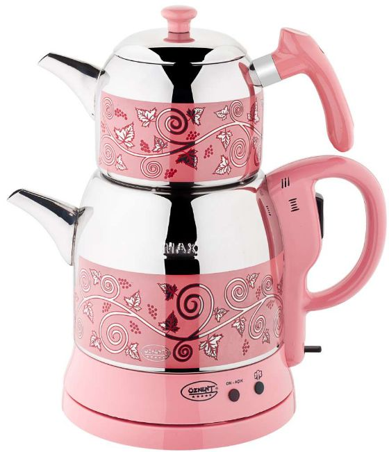 Ozkent K-662 Violet Pink Steel Tea Machine Turkish Electric Teapot, Tea Kettle Machine Maker, Samovar Turkish Tea Maker, Tea Urn