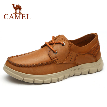 CAMEL New Genuine Leather Men Casual Shoes Comfortable Fashion Footwear Soft Cowhide Male Lace-up Shoes Mocassin Cuir Homme