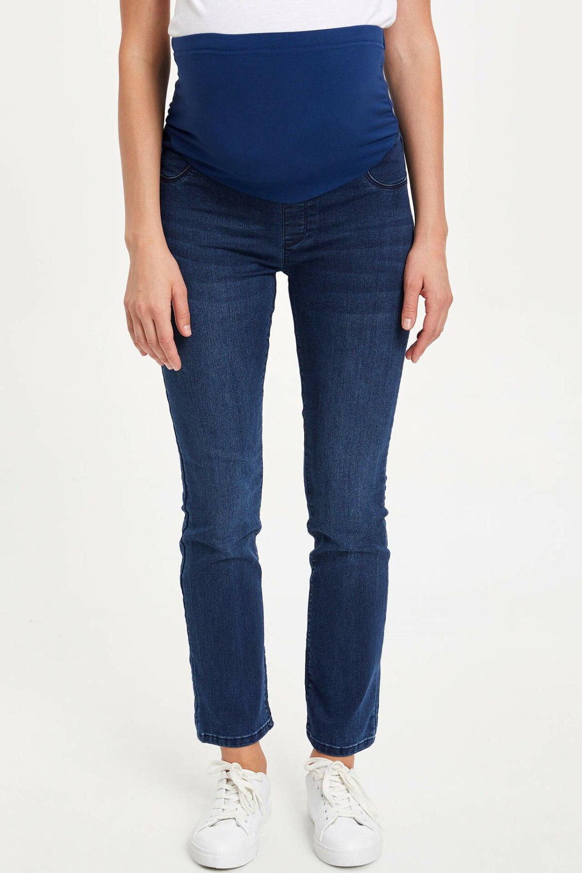 DeFacto Fashion Women Autumn Jeans Maternity Bottoms Ladies Casual Elastic Waist Comfort Denim Comfort Pants - L7950AZ19AU