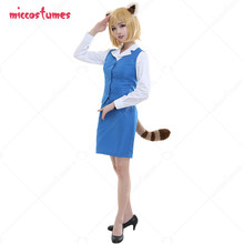 Red Panda Retsuko Cosplay Costume Office Lady Suit Female Uniform with Tail and Ears