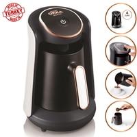 Arzum Okka Minio OK004 Automatic Turkish Coffee Maker Machine, 4 Cups Capacity (300 ML.) Washable Coffee Pot Alert System white