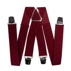 Подтяжки для брюк широкие (3.5 см, 4 клипсы, Бордовый) 55131
