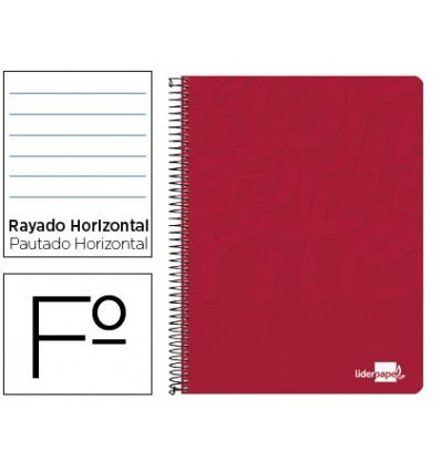SPIRAL NOTEBOOK LIDERPAPEL FOLIO WRITE SOFTCOVER 80H 60GR HORIZONTAL MARGINED RED COLOR 10 Units