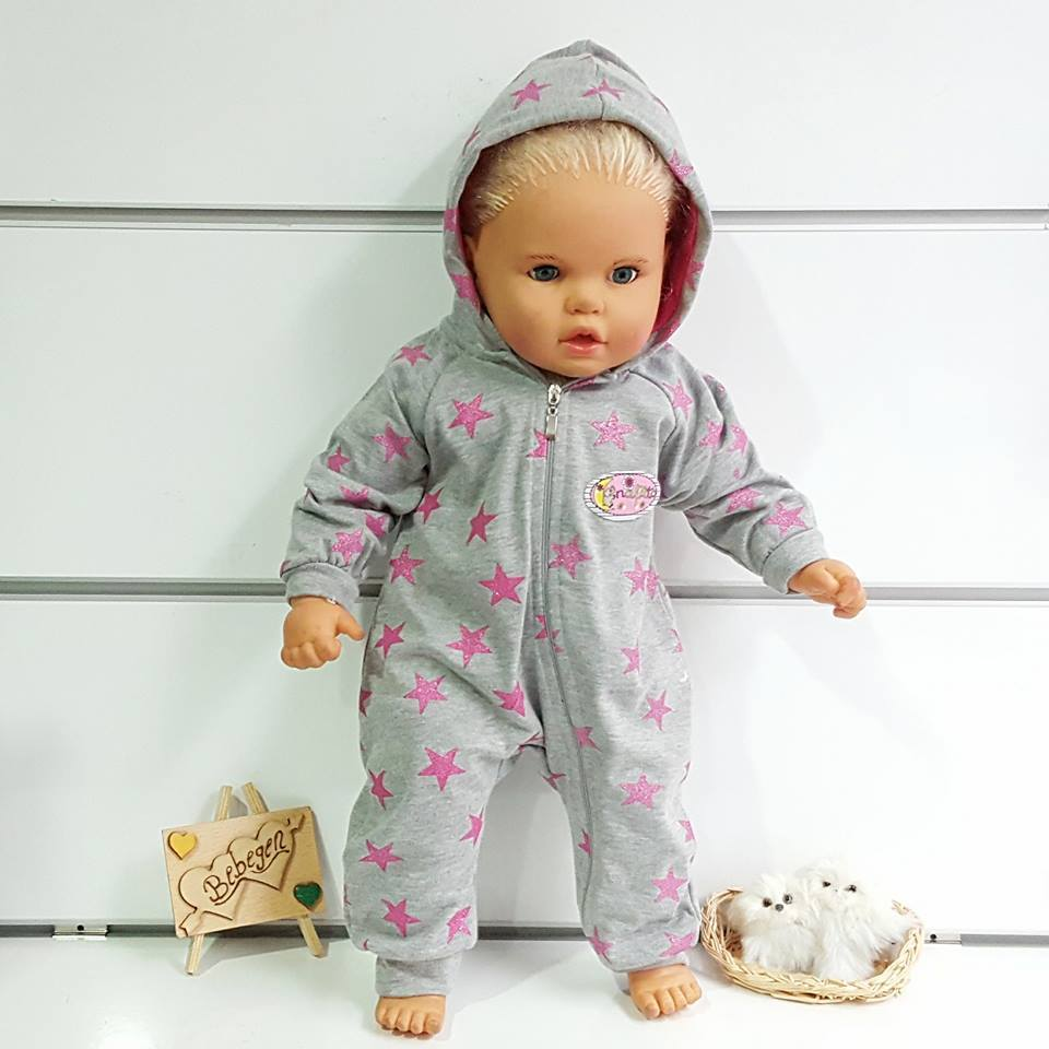 Gray Pink Star Hooded Baby Girl Jumpsuit