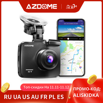 AZDOME 4K 2160P Dual Lens Built in GPS WiFi FHD 1080P Front + VGA Rear Camera Car DVR Recorder GS63H Dash Cam Night Vision image