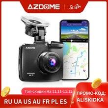 Azdome 4k 2160p lente dupla embutido gps wifi fhd 1080p frente + vga câmera traseira do carro dvr gravador gs63h traço cam visão noturna