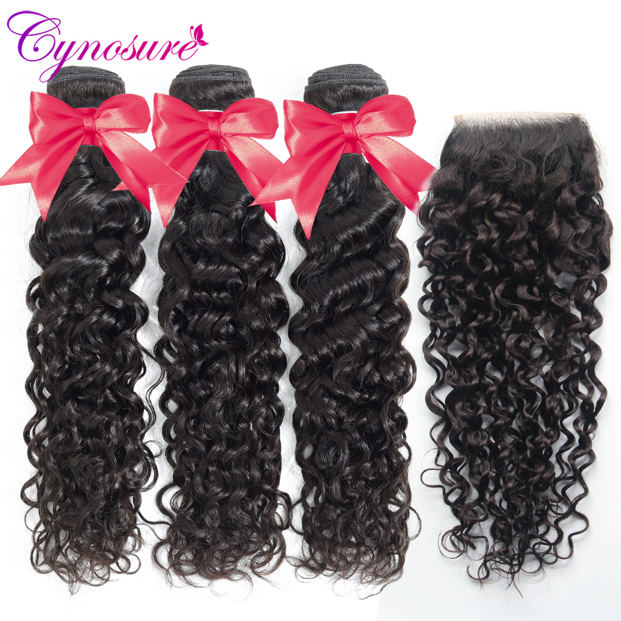 Cynosure Human Hair Water Wave Bundles With Closure Double Weft Brazilian Hair Weave 3 Bundles With Closure Remy