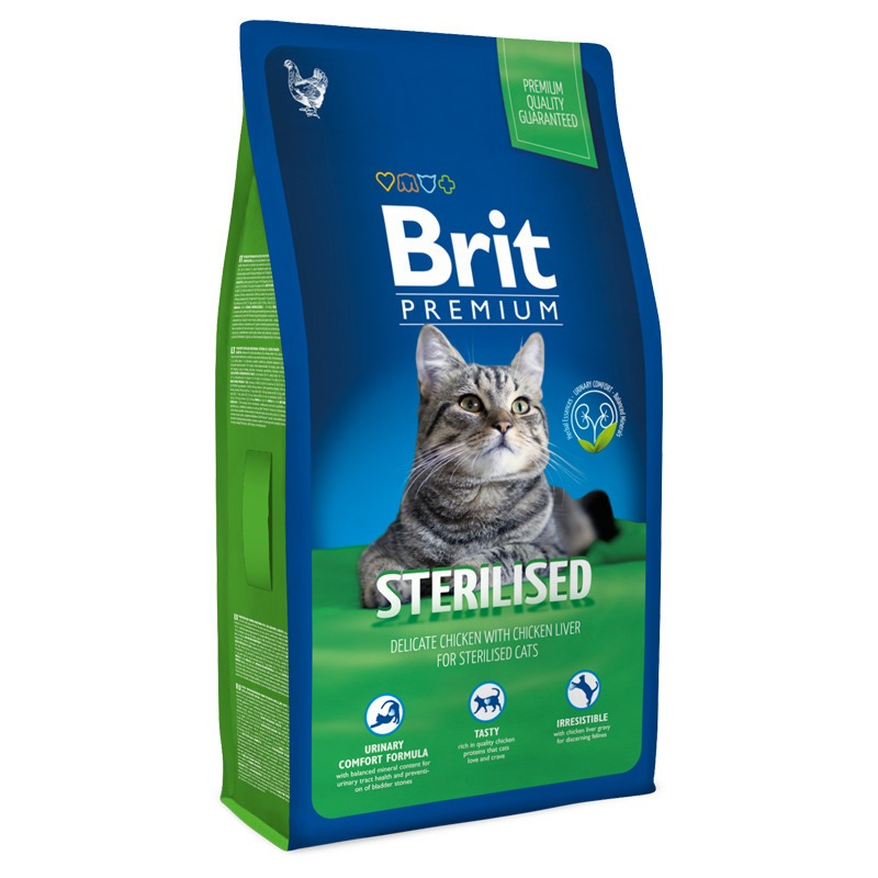 Корм для кошек Brit Premium Cat Стерилизованный для стерилизованных кошек и кастрированных кошек, Курица, 8 кг