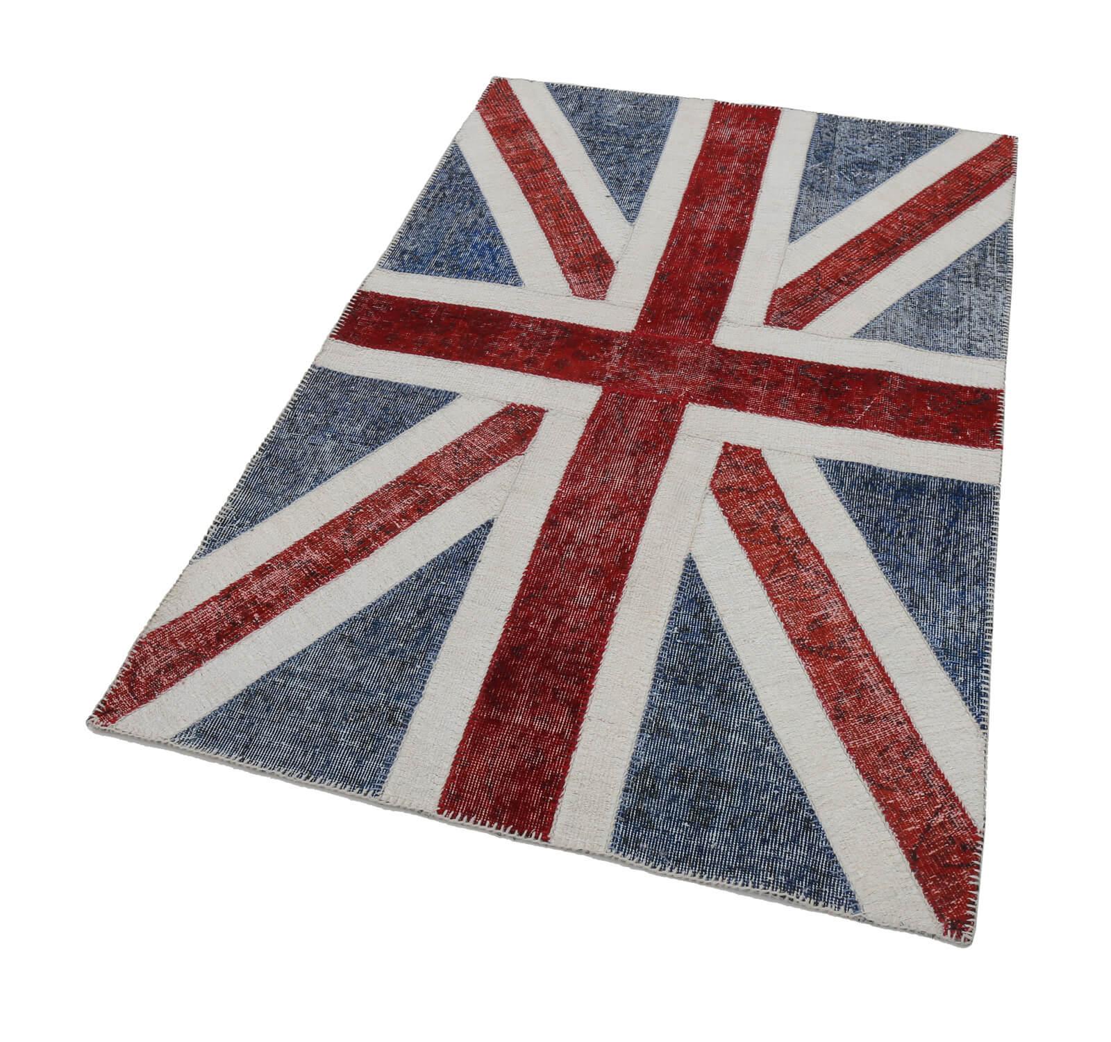121x182 Cm British Handmade Flag Patchwork Rug-4x6 Ft