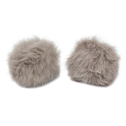 Pompon Made Of Natural Fur (rabbit), D-8cm, 2 Pcs/pack (J Mouse)