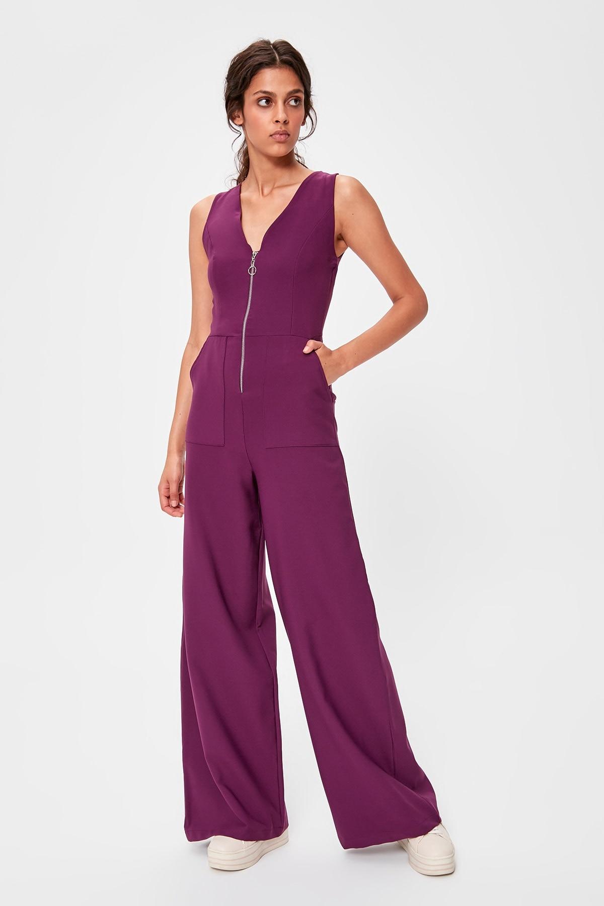 Trendyol Damson Zipper Jumpsuit TWOAW20TU0046