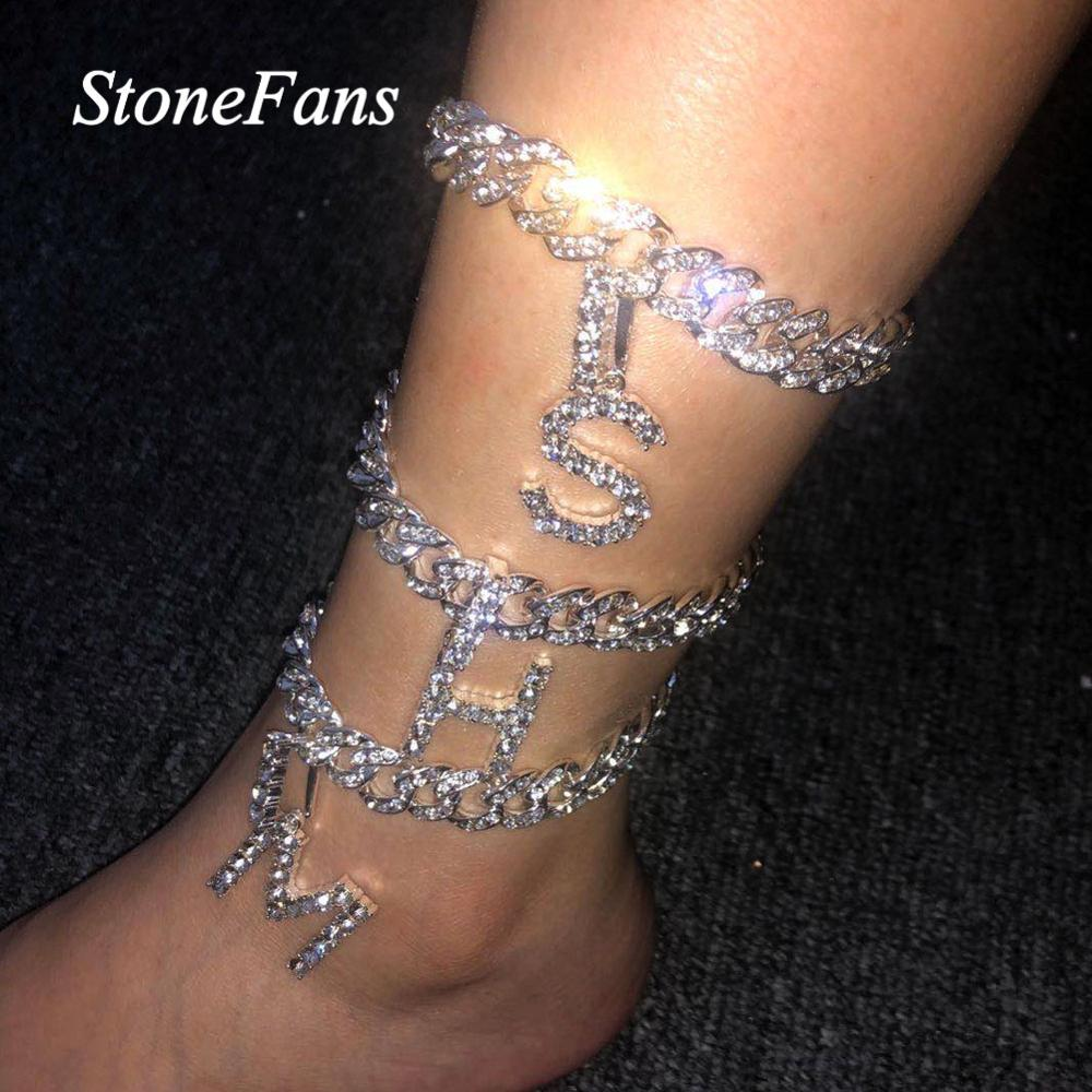 Stonefans Men Hip Hop Cuban Link Anklet Letter Pendant for Women Bling Iced Out Rhinestone Anklet Barefoot Sandals Jewelry