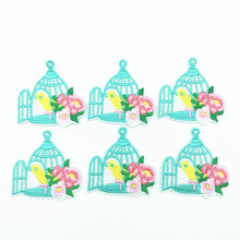 50pcs Birdcage Patch Flower Embroidered Patches Iron On Sewing Applique Badge Clothes Stickers