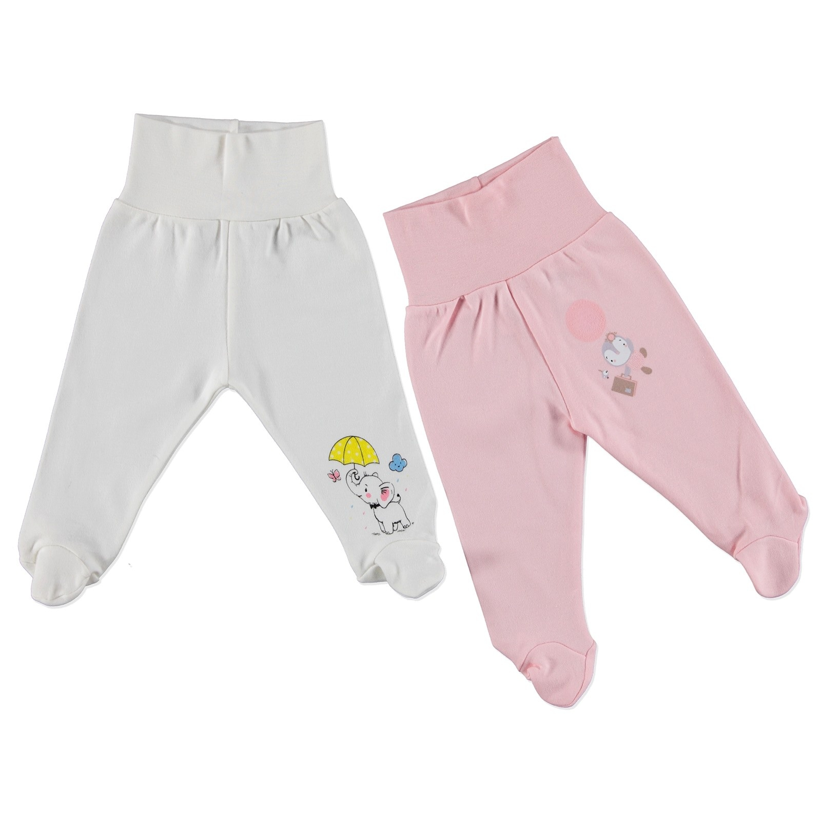 Ebebek HelloBaby Winter Baby Girl Wide Foldable Casual Waist Footed Pants 2 Pack