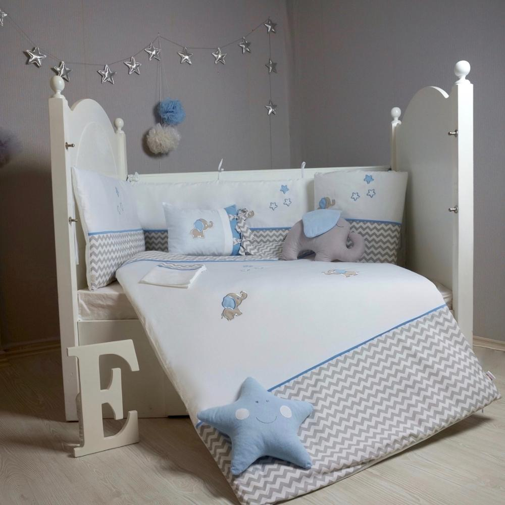 Made In TURKEY 9 Pcs DREAM Infant Baby Crib Bedding Set Bumper For Boy Girl Nursery Cartoon Baby Cot Cotton Soft Antiallergic