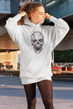 Angemiel Wear Lineal Skull And Crossbones White Dress Sweatshirt Tunik image