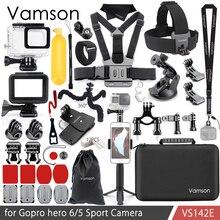 Vamson for gopro hero 7 6 5 액세서리 키트 넥 방수 하우징 케이스 프레임 floaty bobber for go pro hero 6 5 카메라 vs142