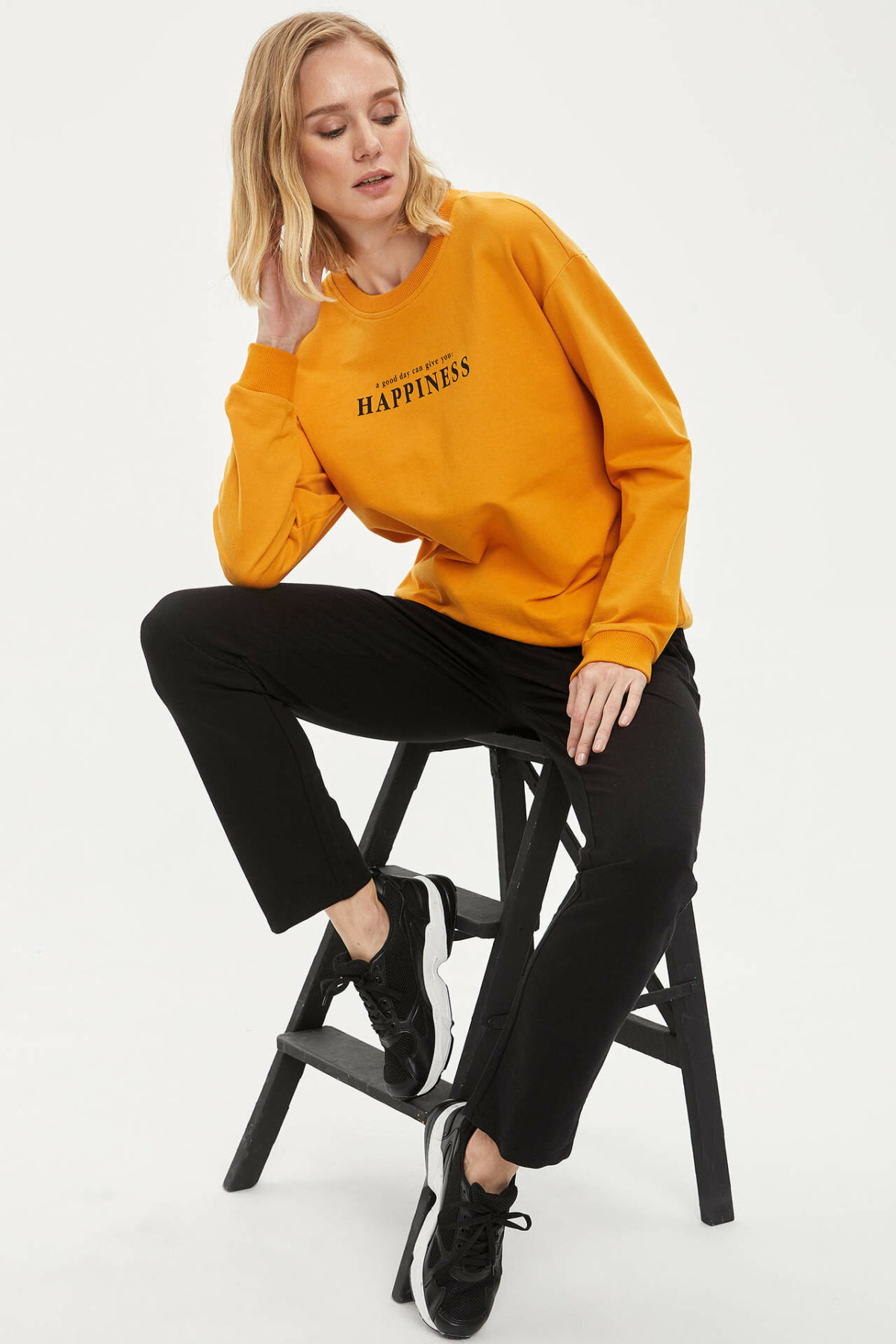 DeFacto Woman Spring Black Casual Long Pants Women Loose Mid-waist Bottoms Female Trousers-L5488AZ20SP