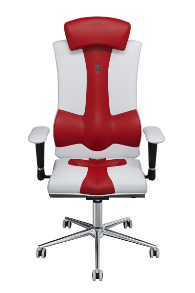 Office Chair KULIK SYSTEM ELEGANCE White And Red Computer Chair Relief And Comfort For The Back 5 Zones Control Spine