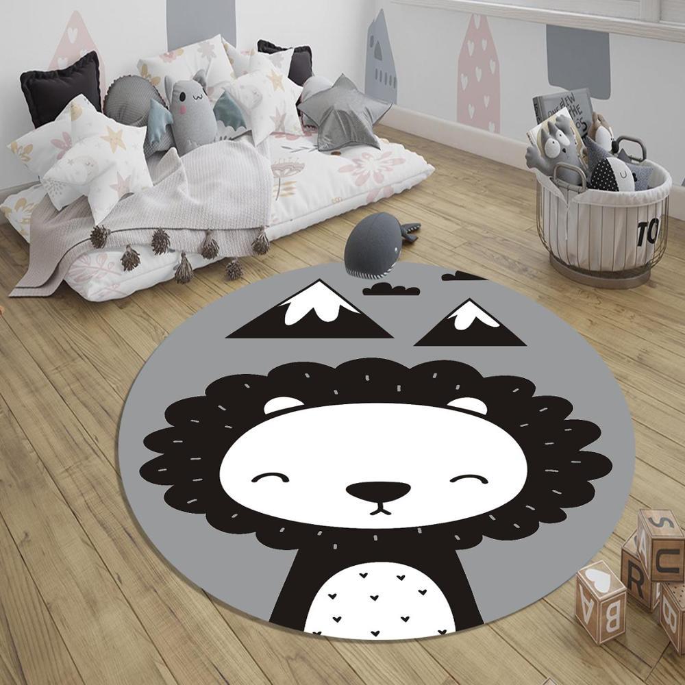 Else Gray White Black Lion Animal Nordec 3d Pattern Print Anti Slip Back Round Carpets Area Rug For Kids Baby Children Room