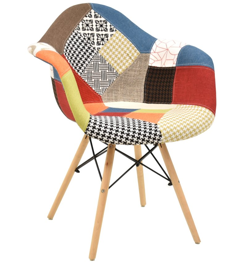 Armchair TOWER, Wood, Fabric Patchwork Color