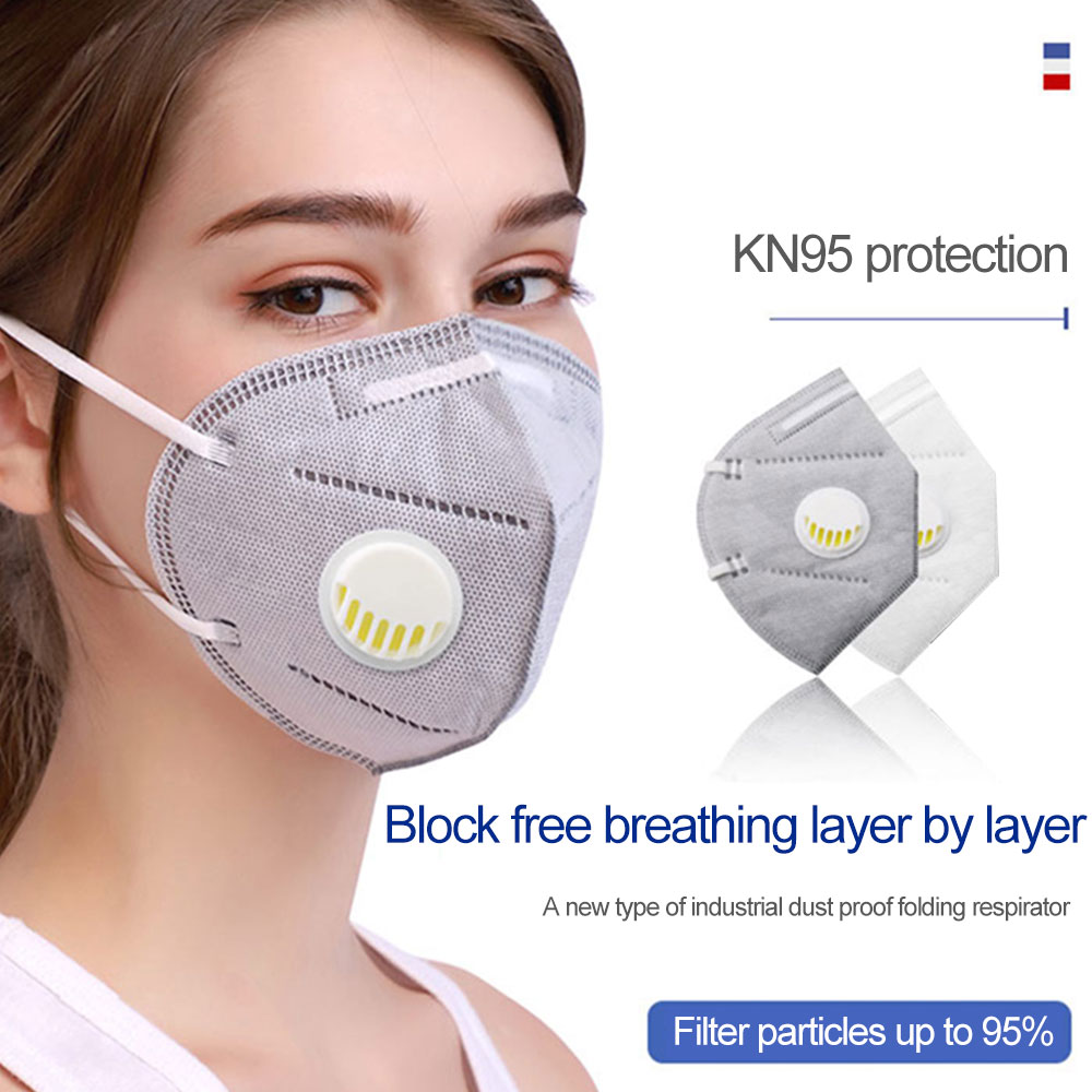 In Stock 95% Filtration KN95 Masks Valved Face Mask Protection Face Mas Breathable Anti Dust Reusable Respirator Ffp3 Ffp2 Mask
