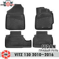 Tappetini per Toyota Vitz 130 2010 ~ 2016 Berlina tappeti antiscivolo poliuretano sporco di protezione interni car styling accessori