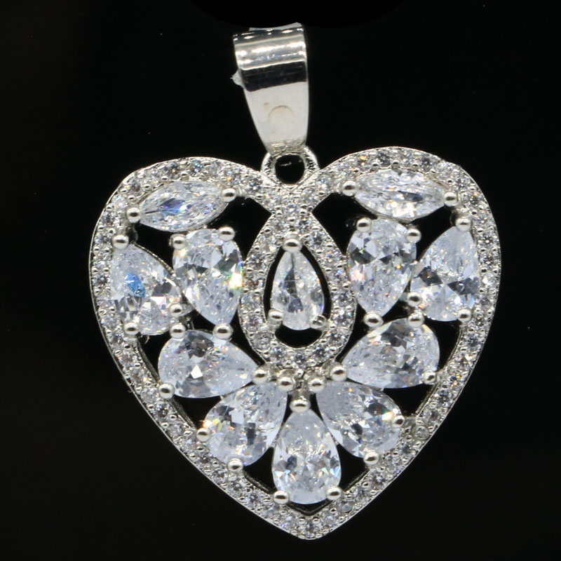 31x24mm Pretty Heart Shape Created White Sapphire CZ Gift For Girls Silver Pendant
