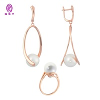 Fashion jewelry for women under the gold and silver. Kits qsy. Women's long earrings and ring with white pearl. Earrings rings.