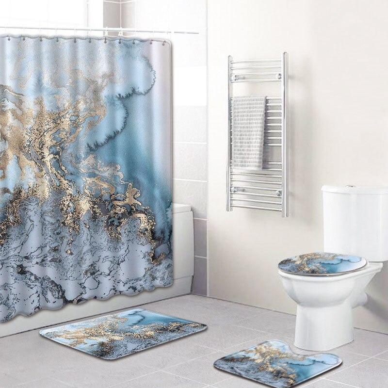 4 pièces/ensemble marbre 3D impression rideaux de douche écran de bain imperméable couverture de toilette tapis de bain Polyester crochet piédestal tapis décor à la maison