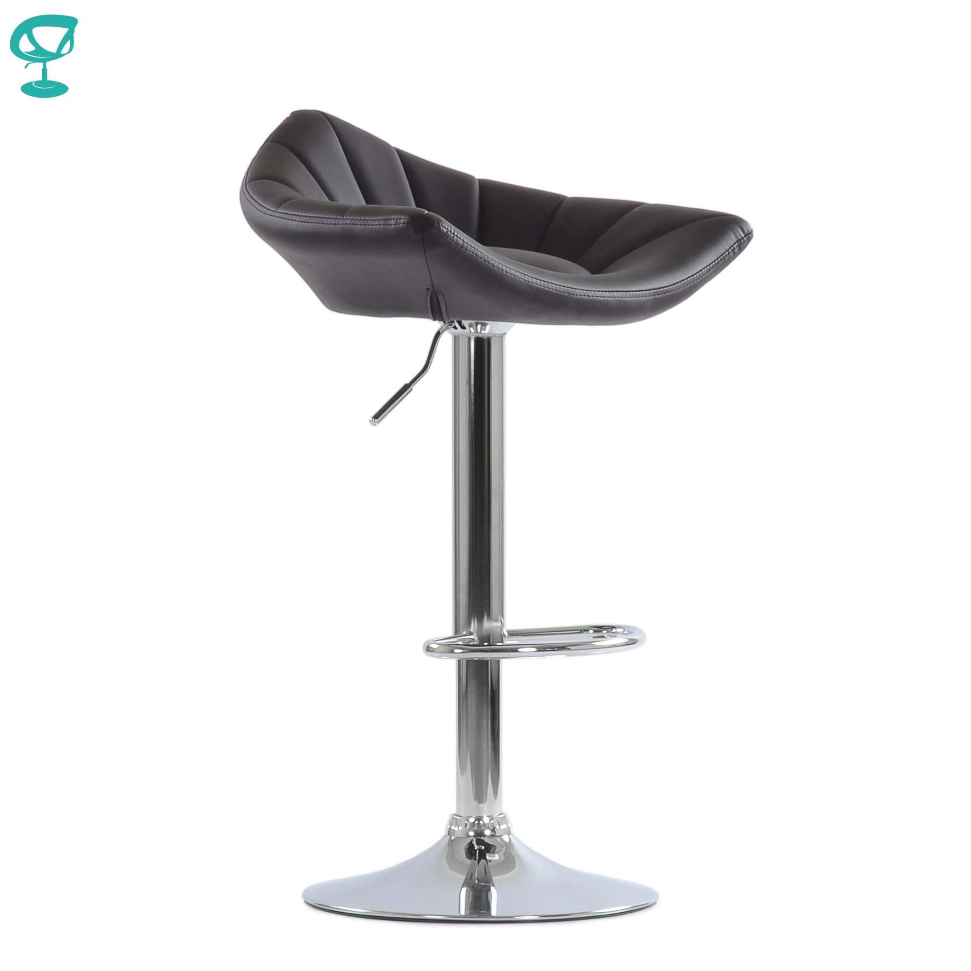 Barneo N-44 Brown Kitchen Bar Chair With Soft Seat Eco-friendly Leather Leg Chrome Chair Gas-lift For Master Makeup броубара