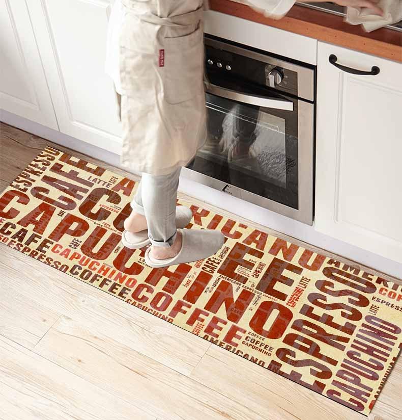 Else Brown Coffee Writen 3d Print Non Slip Microfiber Kitchen Counter Modern Decorative Washable Area Rug Mat