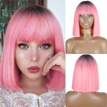AZQUEEN-peluca recta de Bob corto con flequillo para mujer, pelo sintético Bob, color negro y rosa, para fiesta, uso diario, longitud del hombro