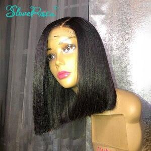 Image 5 - 150% 密度13 × 4レースフロント人毛ウィッグ黒人女性ショートボブブラジルレミーヘアー前摘み取らベビーヘアーsloveためローザ