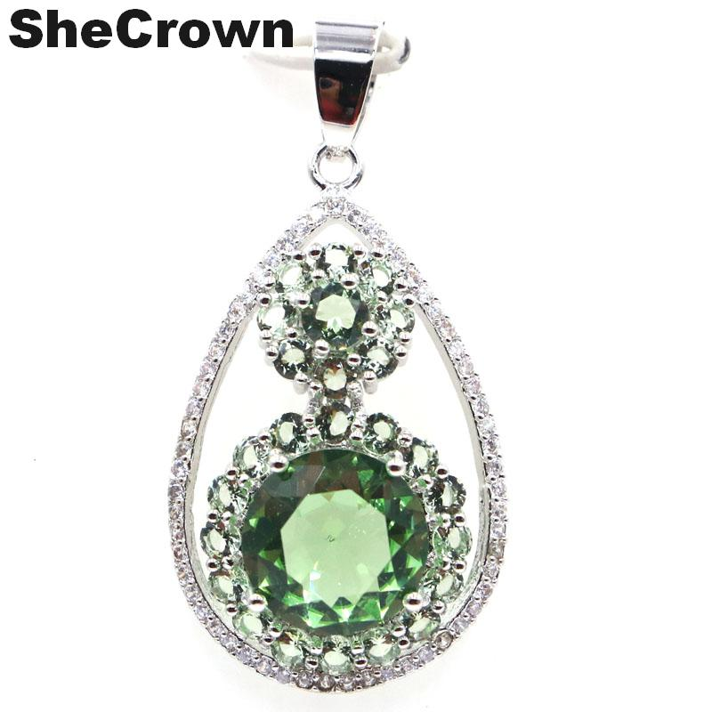 40x20mm Classic SheCrown Created Green Tsavorite Garnet CZ Gift For Sister Silver Pendant