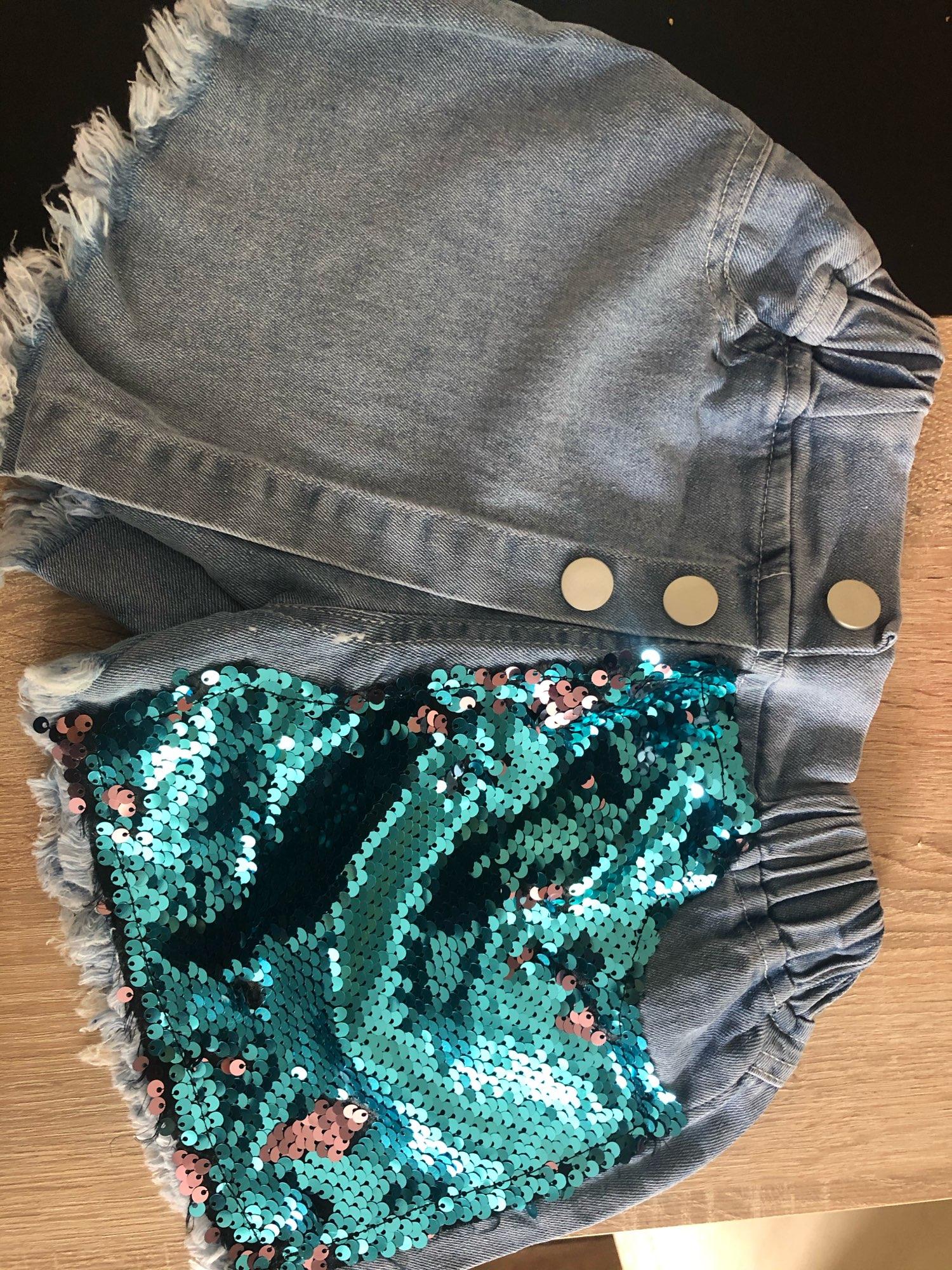 Summer girls jeans baby hot shorts kids denim shorts children bottoms streetwear fashion sequin patch irregular 3 to 8 yrs photo review
