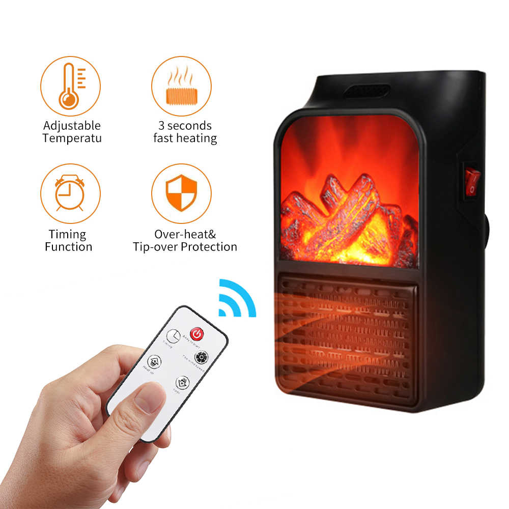 900w Mini Electric Fireplace Heater Electric Heater With Log Flame
