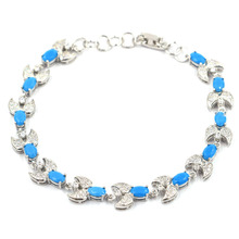12x10mm Elegant Created Blue Turquoise White CZ Gift Silver Bracelet 8-9.0inch