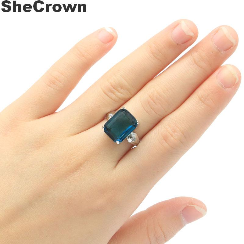 14x11mm Pretty Created Dark London Blue Topaz CZ Gift For Woman's Jewelry Making Silver Rings
