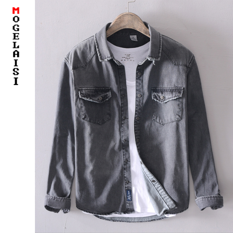 New Men Casual Denim Shirt Slim Cotton Long Sleeve Spring Solid Soft Tops Man High Quality Gray Denim Shirt Chemise Homme 377