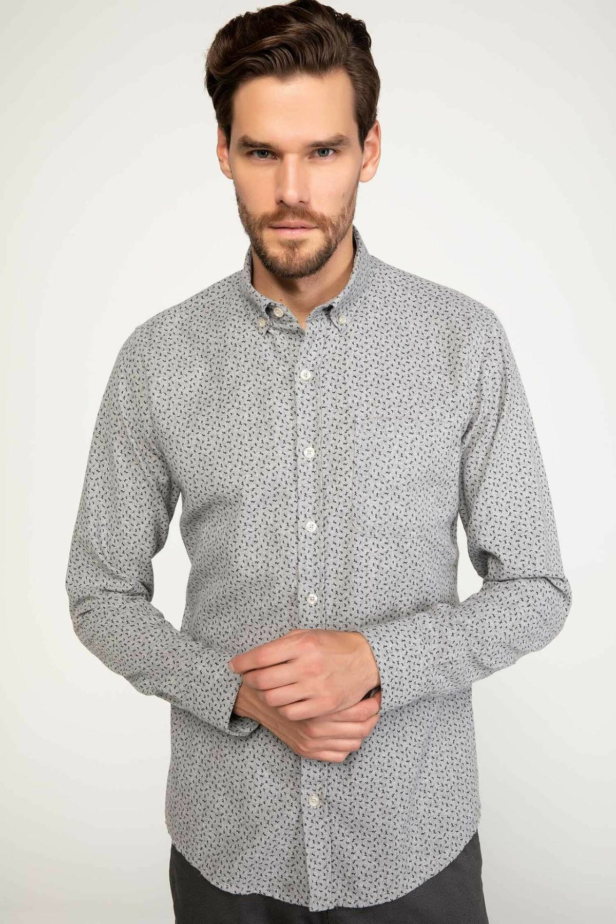 DeFacto Man Casual Prints Cotton Shirts Men's Turn-down Collar Light Grey Long Sleeve Top Shirt-J1424AZ18WN