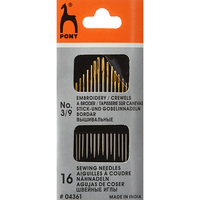 04361 embroidery needles, with gold ear No. 3 9 (16 PCs) Pony